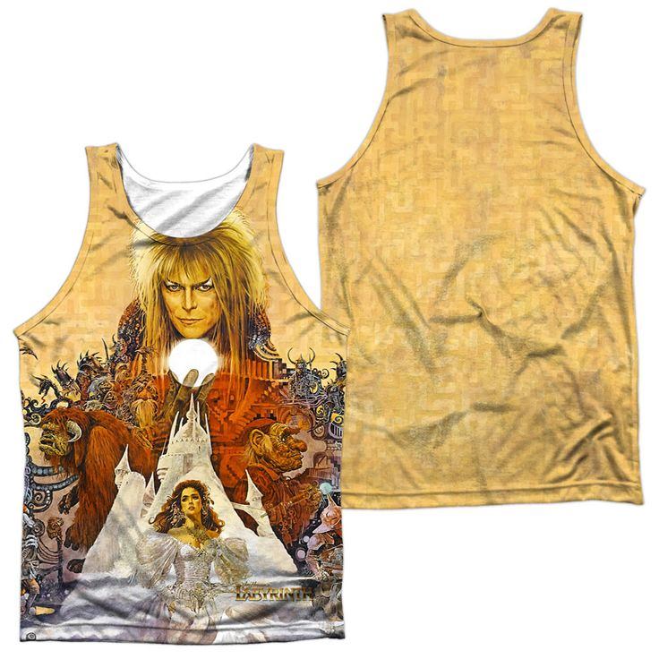Labyrinth Cover Art White 100% Poly Tank-Top
