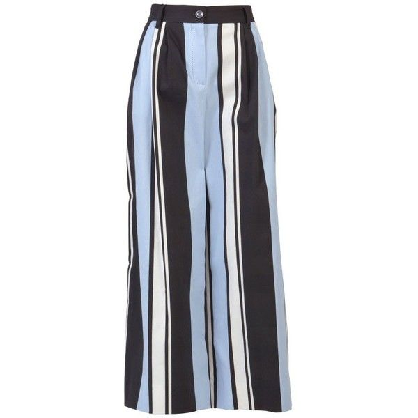 Dolce & Gabbana Trousers (1.590.230 COP) ❤ liked on Polyvore featuring pants, lines, striped trousers, striped palazzo pants, cotton trousers, palazzo trousers and cotton palazzo pants