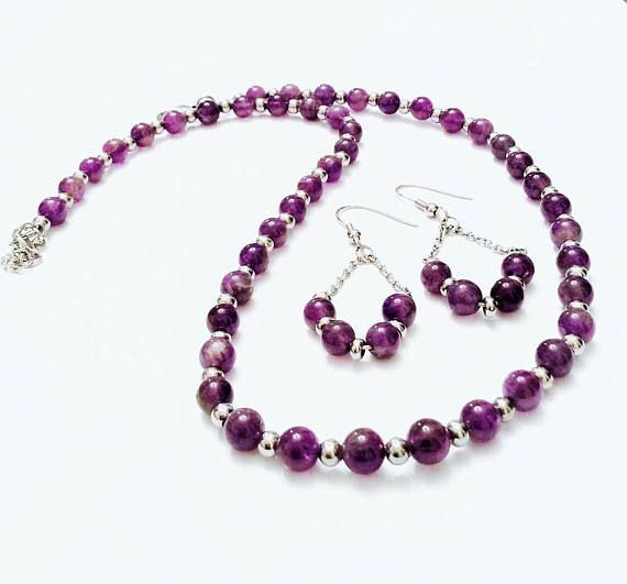 Amethyst Jewelry set  Stainless Steel Jewelry  Purple