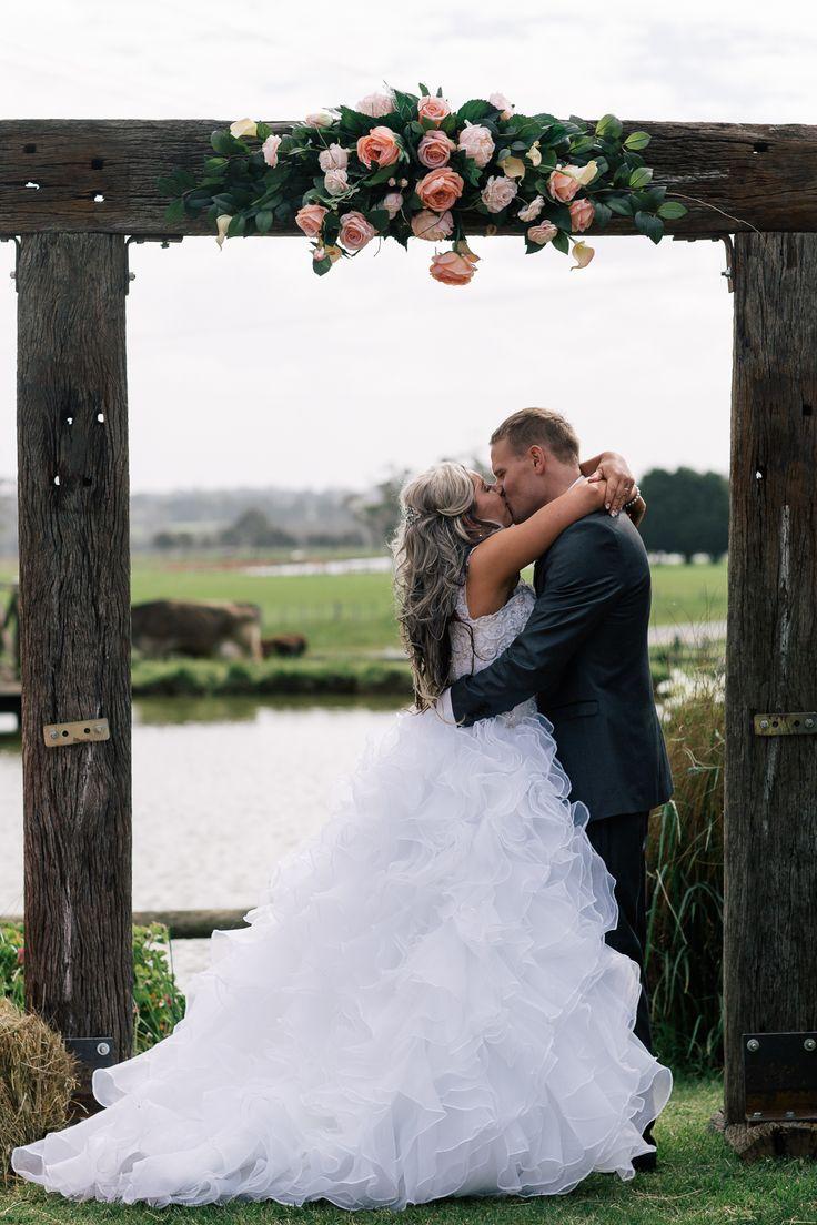 Pretty Flamingo Photography. Rustic Ballarat Wedding.  Newlywed kiss