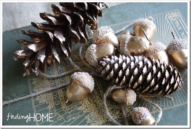 DIY gold leaf acorns and pine cones