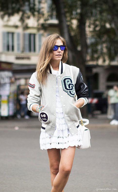 Aurora Sansone, white dress, varsity jacket, purple sunglasses / Garance Doré
