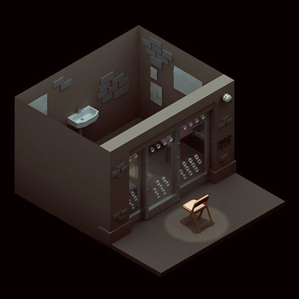Isometric low poly Hannibal Lecter's cell by Michiel van den Berg