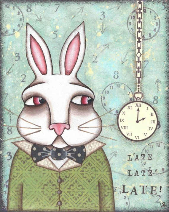 """""""Oh my ears and whiskers, how late it's getting!"""" White Rabbit Alice In Wonderland PRINT   by Lori Ramotar at  HipHeartStudio2, $14.00"""