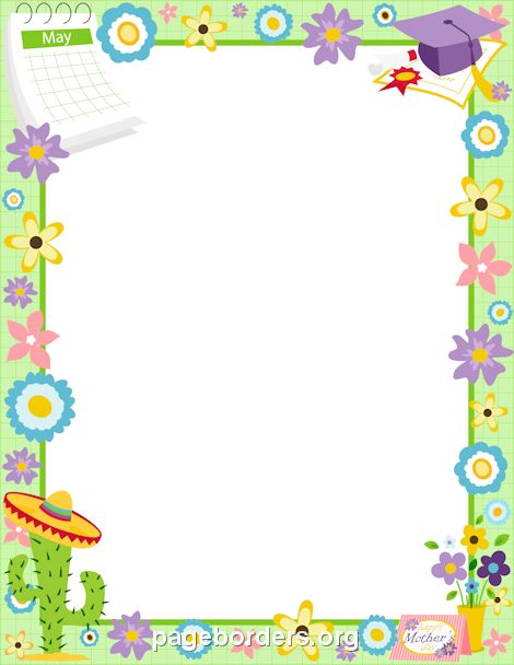 Printable May border. Use the border in Microsoft Word or other programs for creating flyers, invitations, and other printables. Free GIF, JPG, PDF, and PNG downloads at http://pageborders.org/download/may-border/