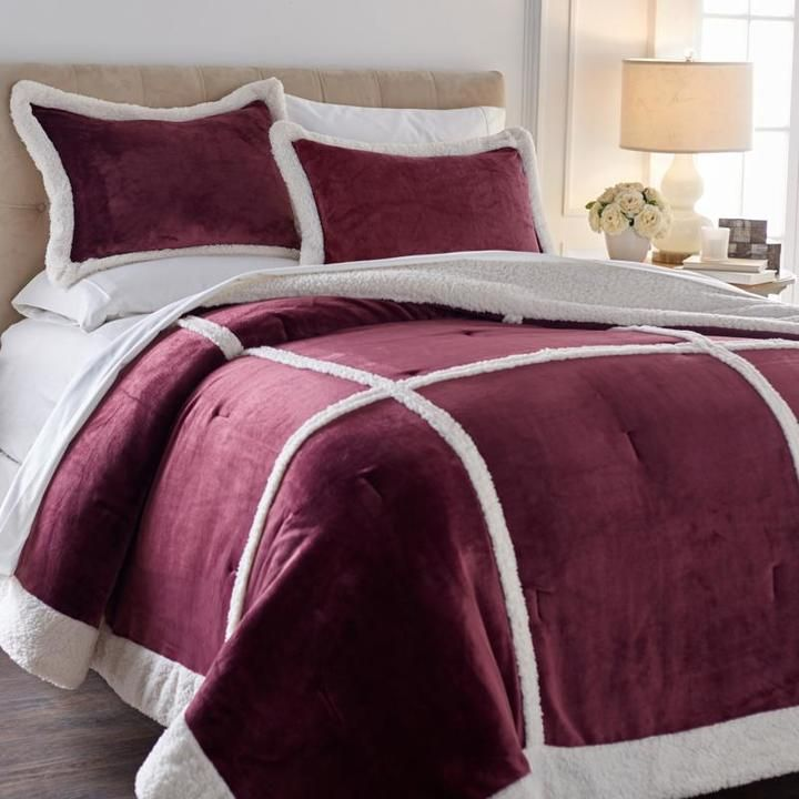 Soft & Cozy Patchwork Plush Sherpa Comforter Set