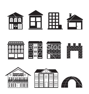 Kind of building and vector vector on pinterest for Different kinds of houses