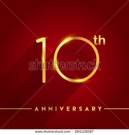 Celebrating of ten years anniversary, logotype golden colored isolated on red background, vector design for greeting card and invitation card