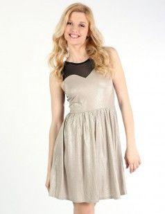 Shimmer sweetheart skater dress - Metallic/Shine