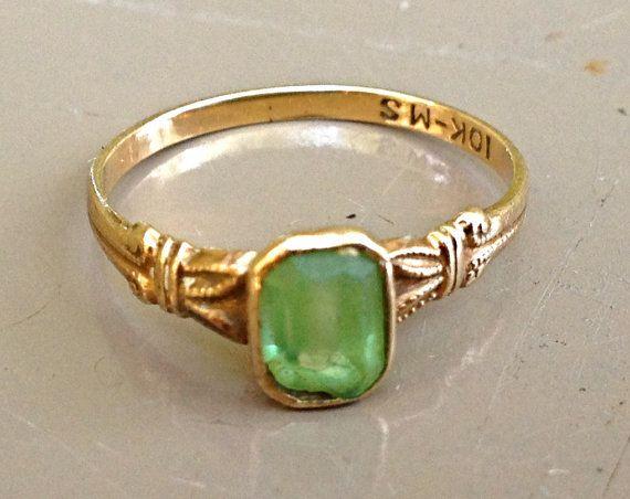 vintage Tiffany ring - 1920s-30s 10k gold emerald ring. $138.00, via Etsy. -