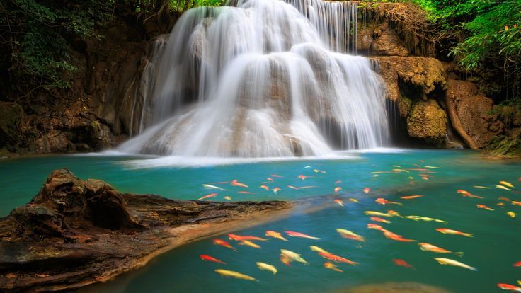 The Huai Mae Khamin Waterfall Is One Of The Most Popular Places of pattaya Thailand
