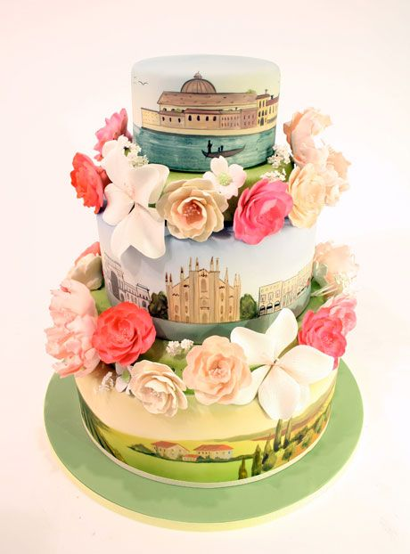 """Scenes of Italy"" cake with handmade flowers by Charm City Cakes"