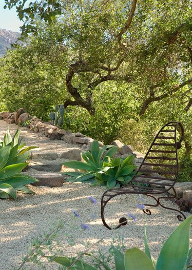 gravel hardscape - stone steps - agave attenuata - afternoon shade