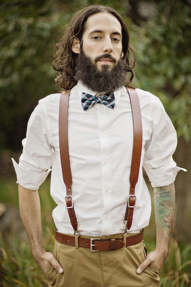 boho styled wedding at the Elmwood Park Zoo groom suspenders