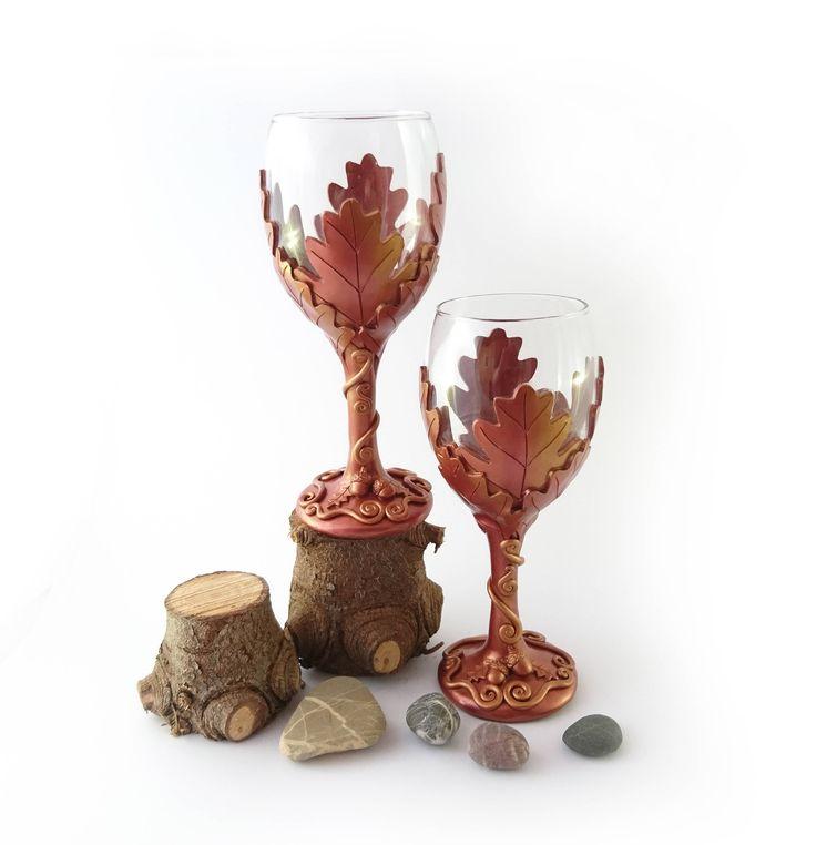 Oak Leaf Wine Glass Polymer Clay Rustic Wedding Present