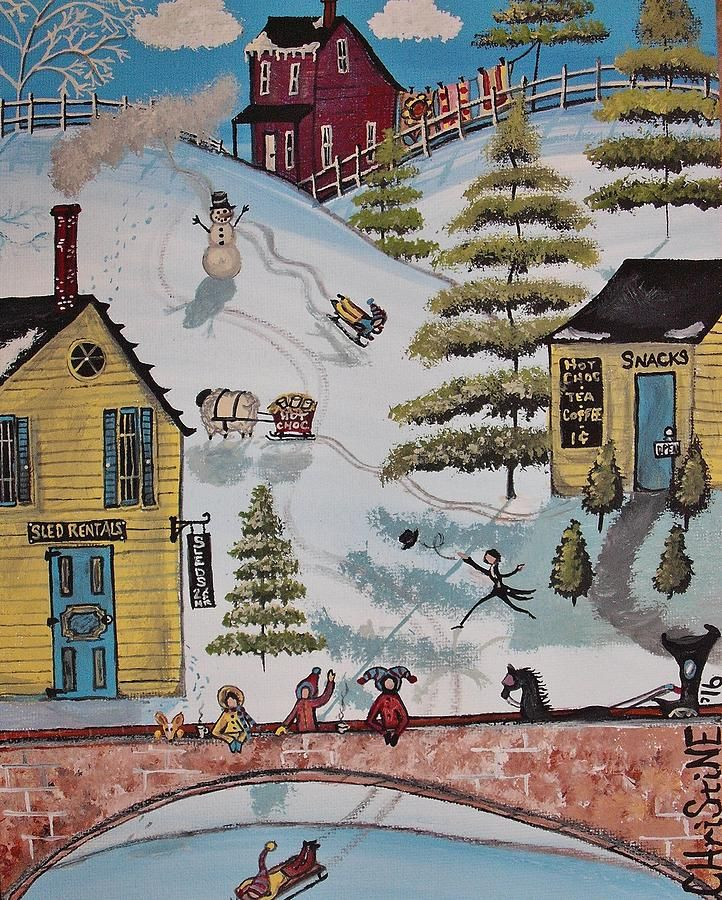 Landscape Painting - Sled Rentals Above The Bridge by Christine Janeway