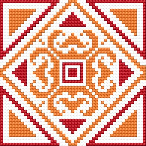 Cross Stitch.  Orange and red Irish motif. To do in greens and golds!