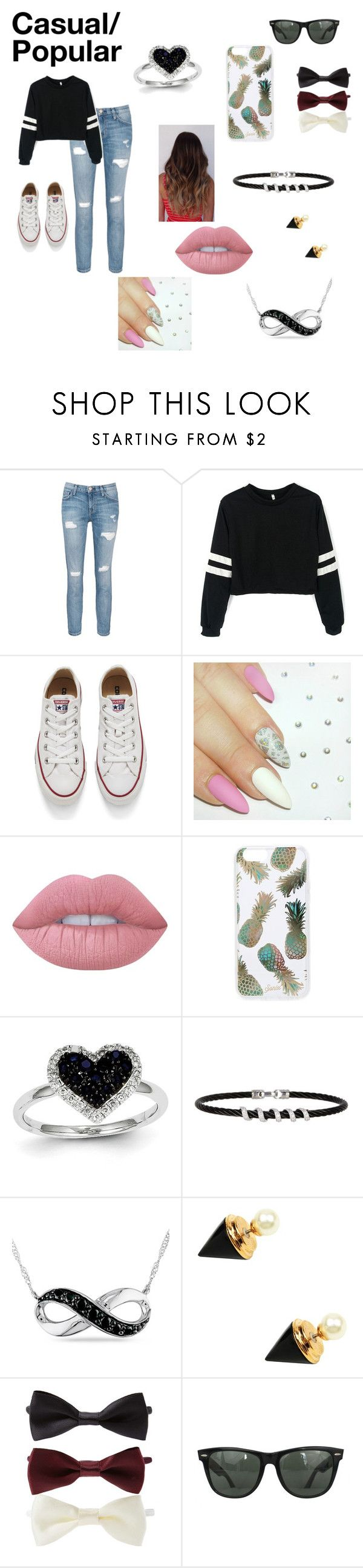 """""""Casual Popular Girl Outfit"""" by lexie-skye33 on Polyvore featuring Current/Elliott, Converse, Lime Crime, Sonix, Kevin Jewelers, Alor, Amour, Eye Candy, Forever 21 and Ray-Ban"""