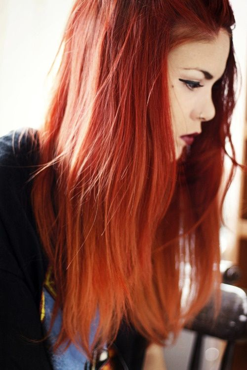 Brown to Red Ombre Hair   red ombre hairstyles