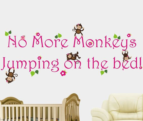 No More Monkeys Jumping On The Bed Girls Decal - Wall Sticker Outlet