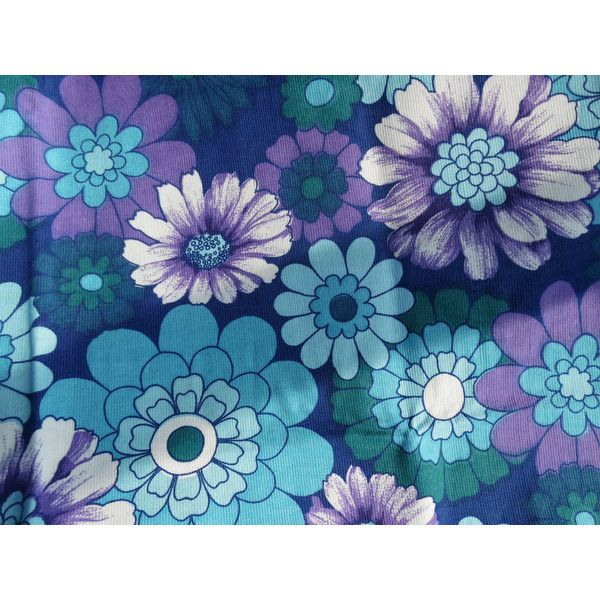 60's Mod flower curtains curtain panels fabric, PAIR, purple,... ($61) ❤ liked on Polyvore featuring home, home decor, window treatments, curtains, green curtains, track curtains, purple flower curtains, blue curtain panels and fabric curtains