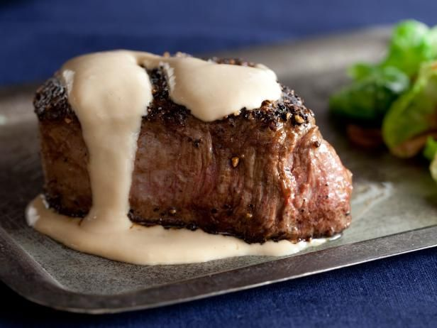 Alton Brown's Steak au Poivre Recipe | Serve with roasted brussel sprouts mixed with a bacon-balsalmic reduction | Recommended on this Reddit thread: https://www.reddit.com/r/Cooking/comments/5dswmp/what_was_the_best_meal_youve_ever_made/?limit=500