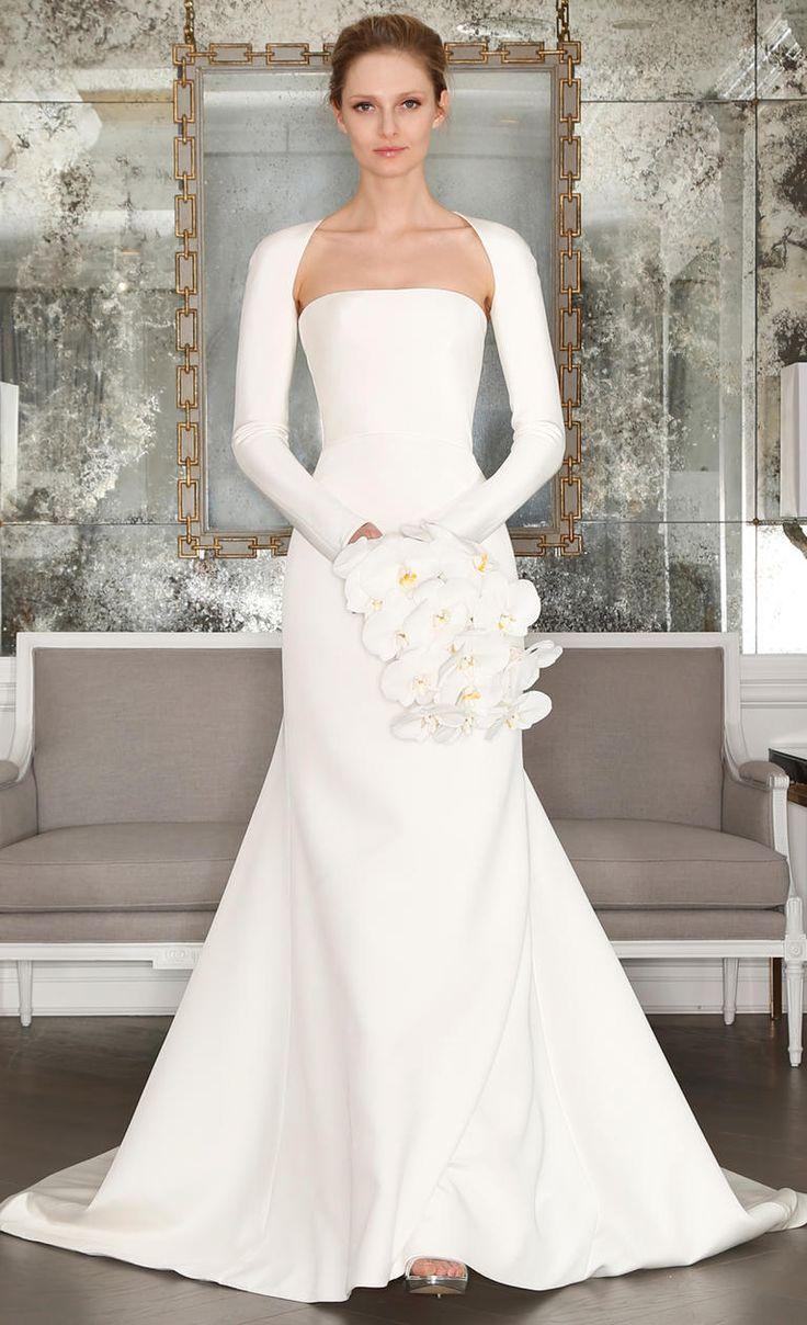 White wedding gown with long sleeves | Romona Keveza Spring 2017 | https://www.theknot.com/content/romona-keveza-wedding-dresses-bridal-fashion-week-spring-2017
