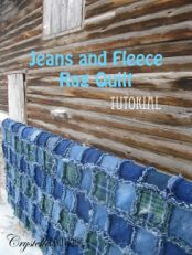Easy Jeans and Fleece Rag Quilt ~ Tutorial