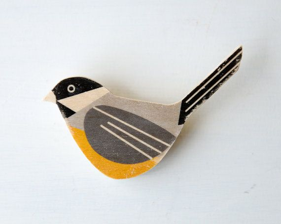 Bird Brooch - Chickadee, Wood Brooch, Black-capped Chickadee, fashion accessory via Etsy