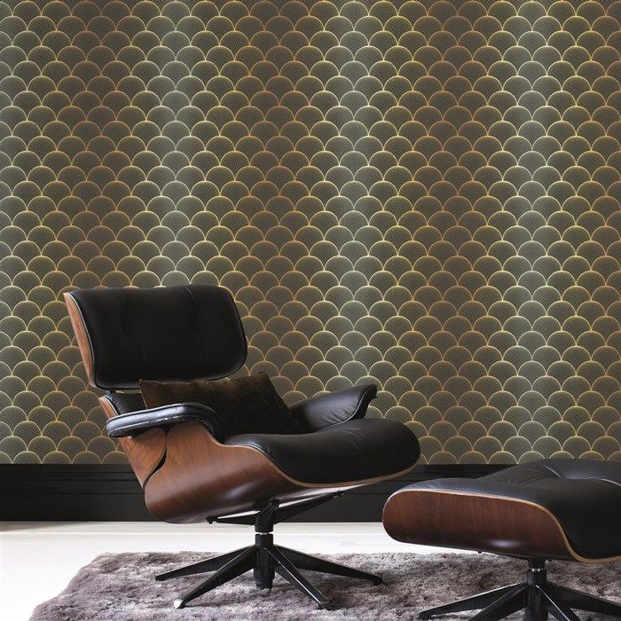 Cactus Prince Charles Gold / Black Wallpaper by Graham and Brown
