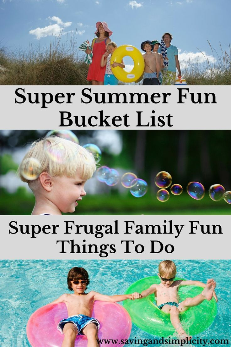Summer bucket list. 25 Super frugal family fun things to do. Enjoy a family fun summer full of activities without going in debt. Save money and have fun.