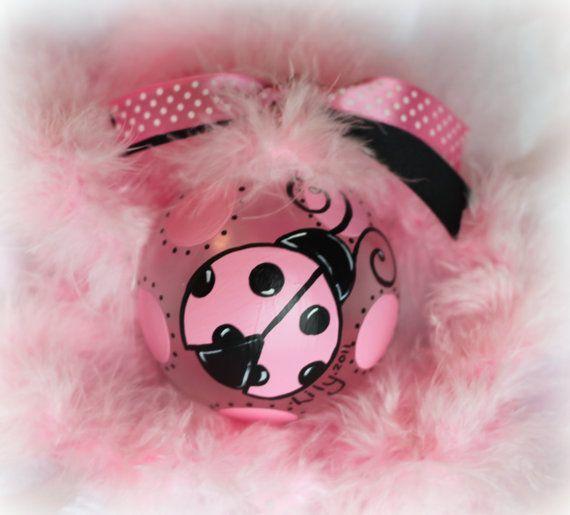 Personalized MoD PINK BLACK Ladybug Christmas ornament Hand Painted glass ball baby's first Christmas big sister