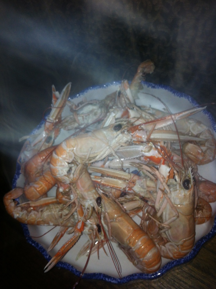 Dish of steaming prawns yum yum :))