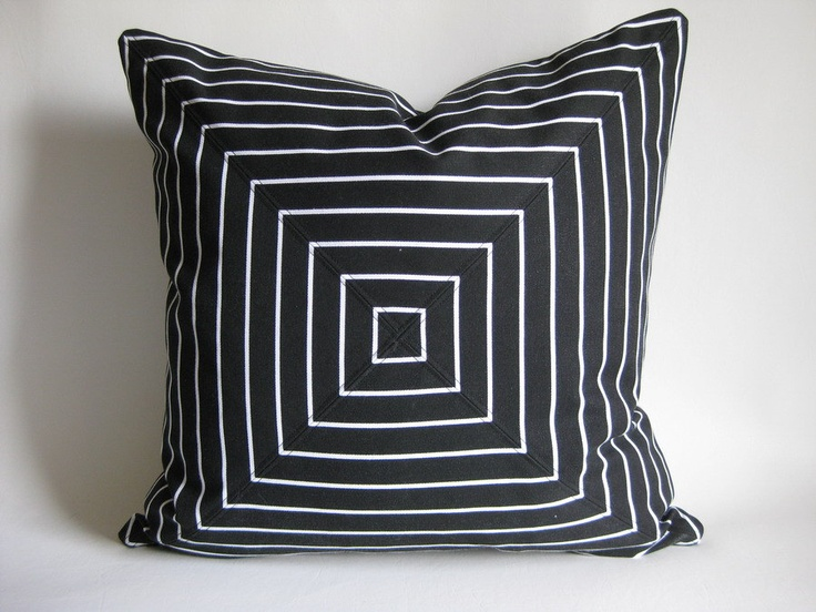Pillow Cover Mitered Black and White Graphic Stripes. $35.00, via Etsy.