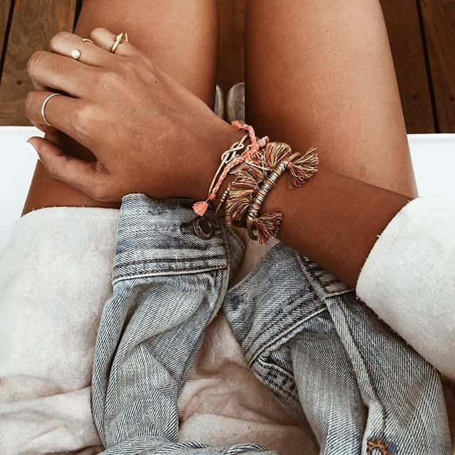 Stacked bracelets. ❤️  @sincerelyjules