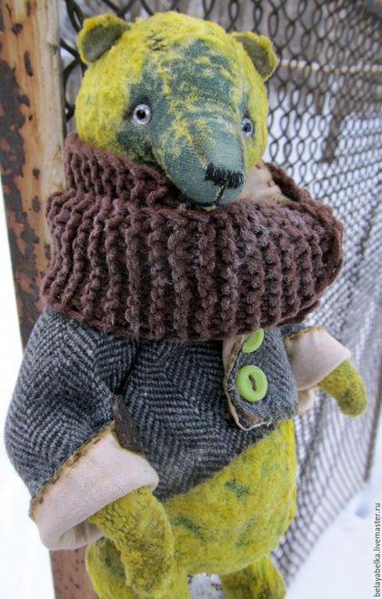 Купить Длинноносый мих - тёмно-зелёный, желтый, мишка тедди, мишка из плюша, винтаж