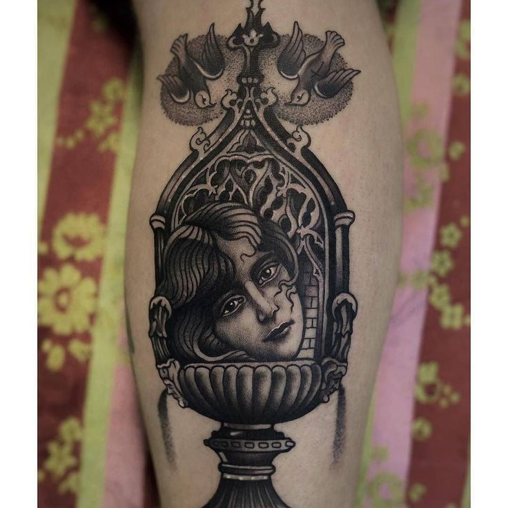 Fountain Head tattoo by @deniselice at @thesaintmariner in Milan Italy #deniselice #thesaintmariner #milan #italy #fountain #fountaintattoo #headtattoo #ladyheadtattoo #blackworktattoo #tattoo #tattoos #tattoosnob