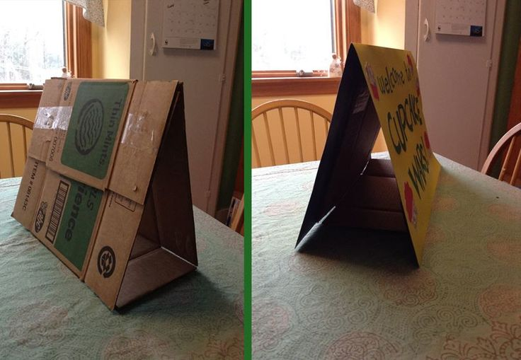 If you cut a cookie box flat, and then refold it into a triangle, it is then the perfect size to hold up a piece of poster board folded in half. Makes for an inexpensive table top sign for cookies sales, Thinking Day, etc