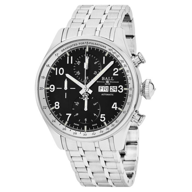 Ball Men's CM3038C-SJ-BK 'Trainmaster' Dial Chronograph Pulse meter Swiss Automatic Watch