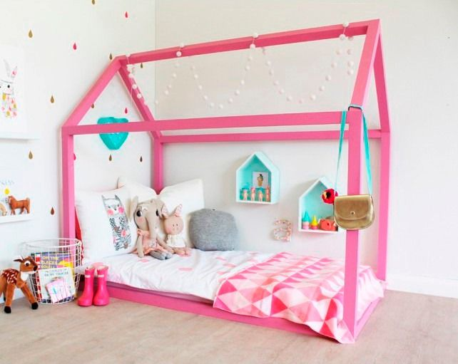 Cama casita infantil cuna m todo montessori 90 x1 40 for Cama infantil nina