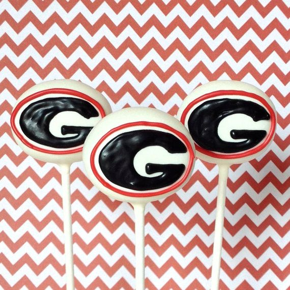 12 UGA Georgia Cake Pops, SEC football, college care pack, bulldog mascot, basketball, cheer, coach gift, team banquet, tailgate party favor on Etsy, $36.00