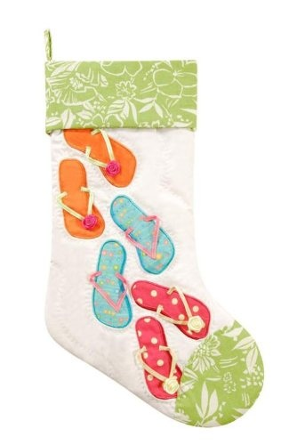 $22.88-$29.99 Quilted Tropical Beach Flip Flops Christmas Stocking White