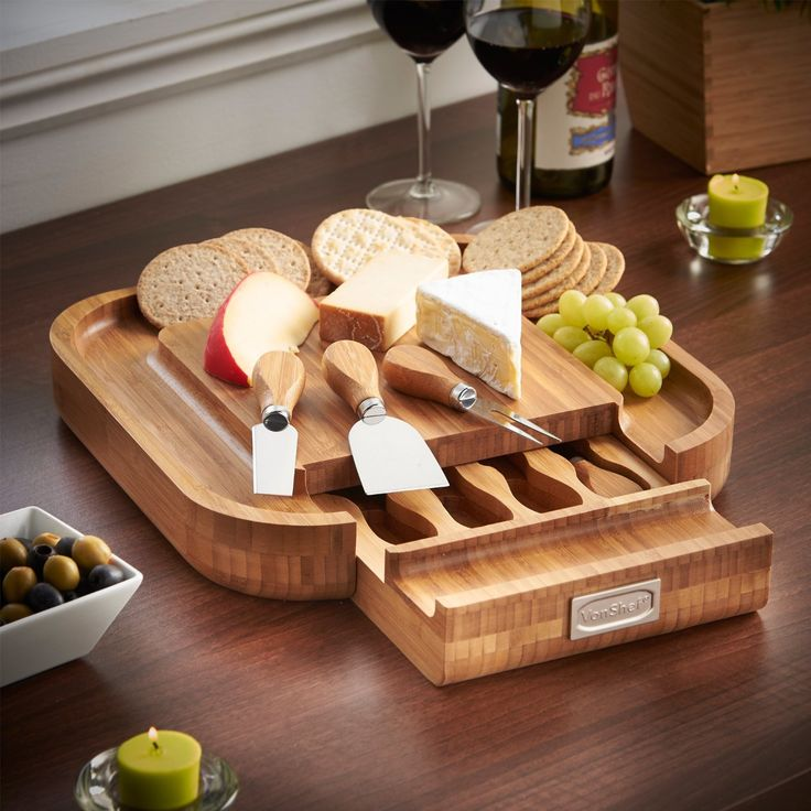 Wood Cheese Board 4 Piece Set