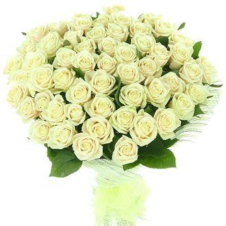 Белые розы (от 15 до 75 шт)