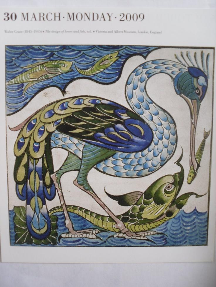 Walter Anderson: Crane, Heron and Fish