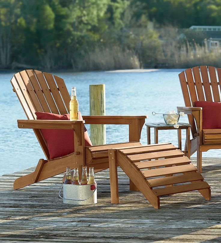 A Nice Cold Beer By The Lake   All Weather Wooden Adirondack Folding Chair,  Ottoman And Side Table U2013 In Natural Eucalyptus Or Painted Hardwood