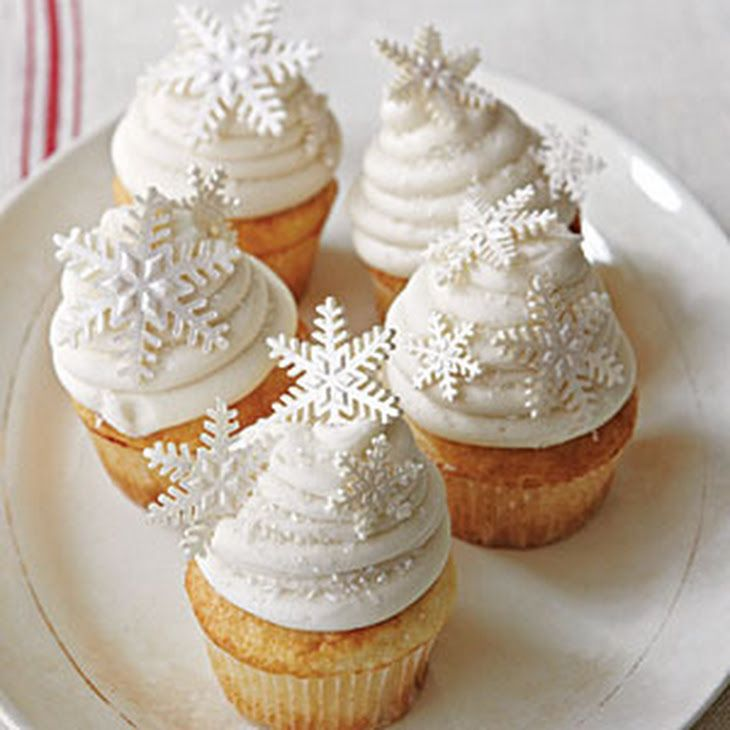 White Christmas Cupcakes Recipe Desserts with butter, shortening, sugar, large eggs, soft-wheat flour, baking powder, salt, buttermilk, vanilla extract, almond extract, vegetable oil cooking spray, cream cheese, soften, butter, peppermint extract, powdered sugar, salt, edible glitter, snowflake
