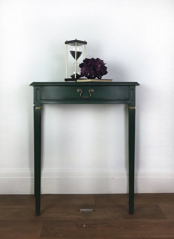 Dark Green Black And Gold Moody Hall Table With Drawer Hallway