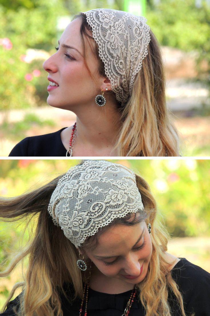 Cream Stretchy Lace Headband Lace Headbands Hippie Headbands Vintage Headbands