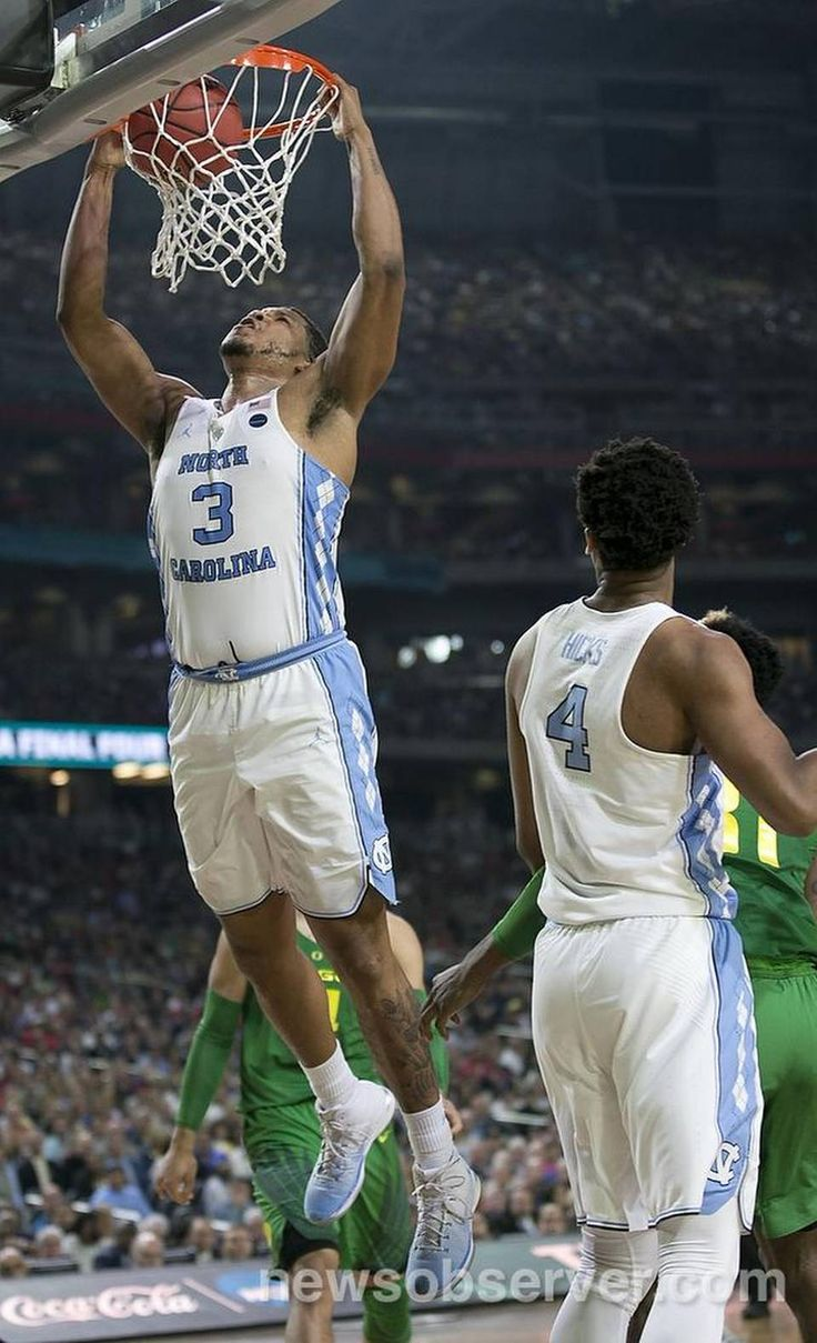 North Carolina's Kennedy Meeks (3) gets a dunk during the second half against Oregon for two of his game high 25 points in the Tar Heels' 77-76 victory in the NCAA National semifinal game on Saturday, April 1, 2017 at the University of Phoenix Stadium in Glendale, Arizona.